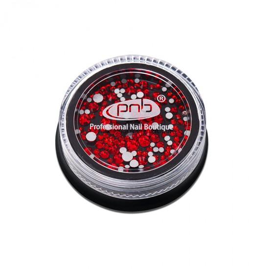 Стразы PNB красные, микс размеров, стекло