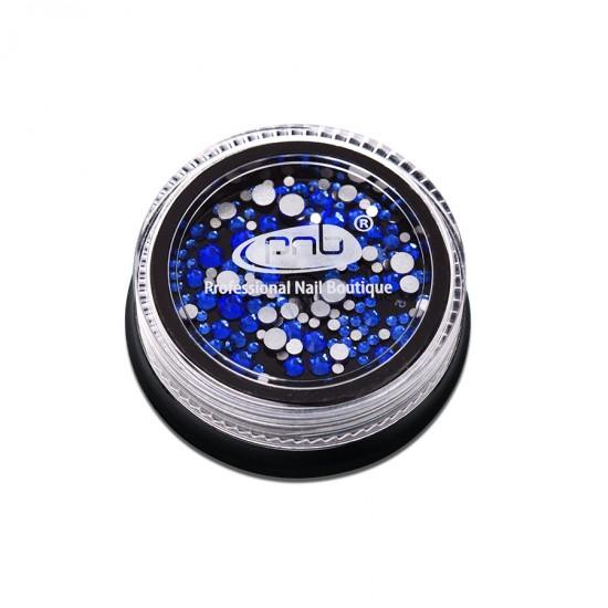 Стразы PNB синие, микс размеров, стекло